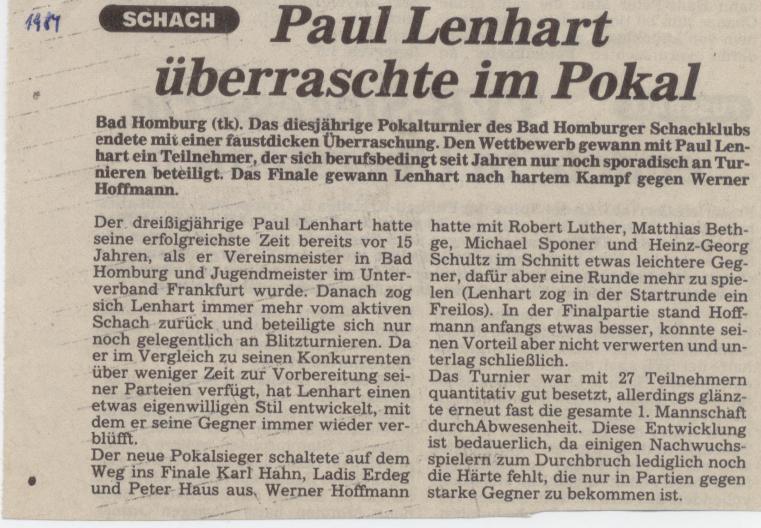 Len Bad Homburg chronik vereinsturniere schachklub bad homburg